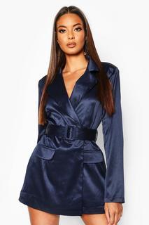 boohoo - Womens Blazer-Playsuit In Satin-Optik Mit Gürtel - Marineblau - 40, Marineblau