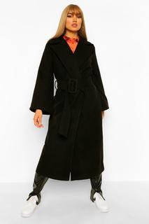 boohoo - Womens Mantel In Wolloptik Mit Stoffgleichem Gürtel Und Weiten Ärmeln - Schwarz - 42, Schwarz