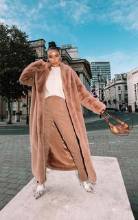 PrettyLittleThing - Camel Premium Faux Fur Plush Military Maxi Coat, Camel
