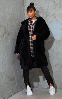 PrettyLittleThing - Black Teddy Faux Fur Hooded Coat, Black
