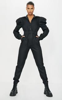 PrettyLittleThing - Black Puff Sleeve Button Shirt Jumpsuit, Black