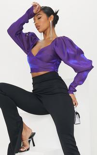 PrettyLittleThing - Purple Metallic Puff Sleeve Cropped Blouse, Purple