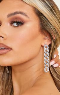 PrettyLittleThing - Silver Oversized Pave Chain Earrings, Grey