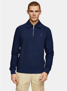 Farah - Mens Farah Blue Polo Style Sweatshirt*, Blue