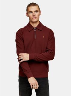 Farah - Mens Red Farah Burgundy Polo Style Sweatshirt*, RED