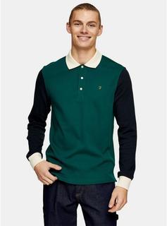 Farah - Mens Farah Green Long Sleeve Polo Shirt*, Green