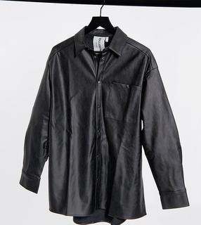 Collusion - Unisex – Oversize-Hemd aus Kunstleder in Schwarz