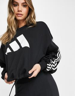 adidas Performance - adidas – Training – Verstellbares Sweatshirt in Schwarz mit 3 Streifen