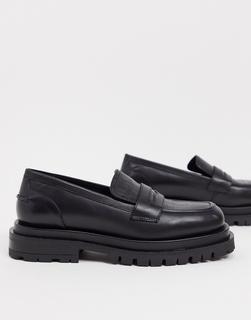 ASOS DESIGN - Montana – Hochwertige Leder-Loafer mit dicker Sohle in Schwarz