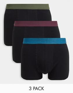 New Look - Boxershorts mit kontrastierendem Bund im 3er-Pack-Schwarz