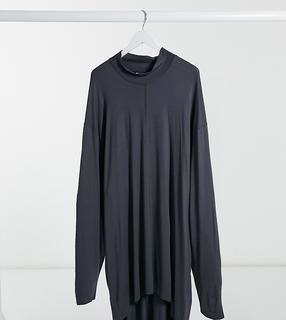 ASOS DESIGN - Plus – Legeres, langärmliges Shirt aus Viskose mit Stehkragen in verwaschenem Schwarz