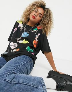 Love Moschino - Schwarzes T-Shirt mit Lolli- und Puppenmotiv