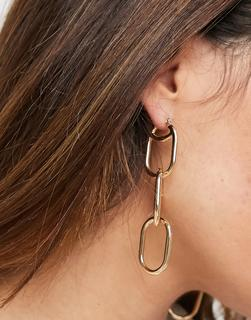 ASOS DESIGN - Goldfarbene Ohrringe mit offenem Kettenanhänger