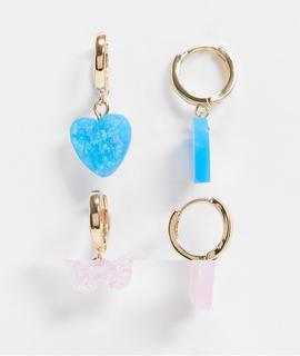 ASOS DESIGN - Goldfarbene Creolen mit Opal-Herz-und-Schmetterlingsanhängern im 2er-Pack