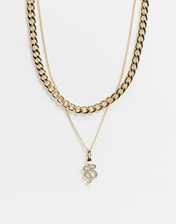 Topshop - Mehrreihige, goldfarbene Halskette mit klobiger Kette und Schlangen-Anhänger