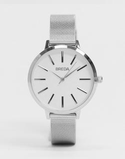 Breda - Joule – Silberfarbene Armbanduhr mit Netzarmband