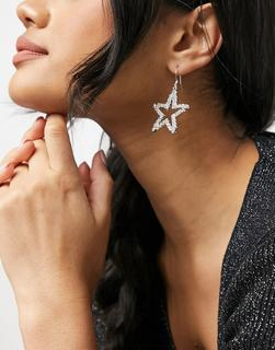 Krystal London - Swarovski – Glänzende Ohrringe mit Sternanhänger-Transparent