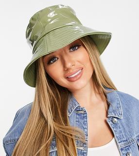 Glamorous - Exclusive – Anglerhut mit Lackoptik in Khaki-Grün