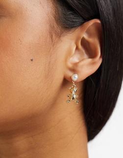 ASOS DESIGN - Goldene Ohrringe mit Teddybär-Anhänger