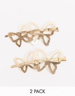 ASOS DESIGN - 2er-Pack goldfarbene Haarspangen mit Schmetterlingsdesign