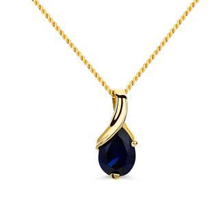 DIAMADA - Halskette - 9KT Created Sapphire Pendant 45cm Necklace Yellow Gold - in gelbgold - für Damen