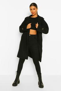 boohoo - Womens Mantel In Wolloptik Mit Durchgehender Knopfleiste - Schwarz - 36, Schwarz