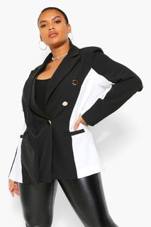 boohoo - Womens Plus Blazer Mit Knopfleiste Und Konturseiteneinsätzen - Schwarz - 50, Schwarz