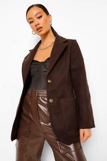 boohoo - Womens Blazer In Wolloptik Mit Durchgehender Knopfleiste - Schokoladenbraun - 38, Schokoladenbraun