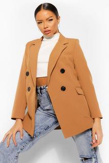 boohoo - Womens Petite Zweireihiger Blazer Mit Knöpfen In Kontrastfarben - Kamelhaarfarben - 32, Kamelhaarfarben