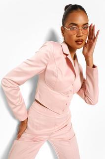 boohoo - Womens Kurzer, Eng Anliegender Blazer Aus Satin Mit Korsett-Detail - Rosé - 38, Rosé