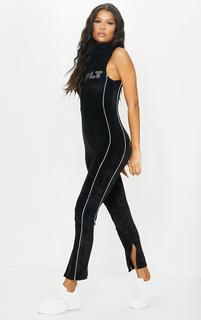 PrettyLittleThing - Black Diamante Velour High Neck Jumpsuit, Black
