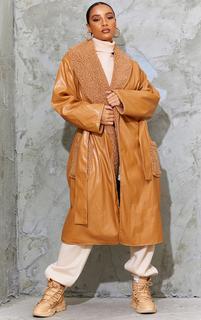 PrettyLittleThing - Camel Borg Reversible PU Belted Midi Coat, Camel