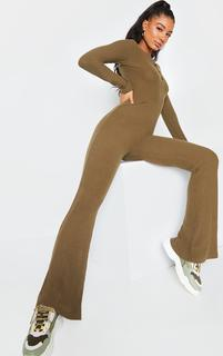 PrettyLittleThing - Khaki Brushed Rib Button Front Long Sleeve Jumpsuit, Green
