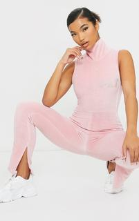PrettyLittleThing - Dusty Pink Diamante Velour High Neck Jumpsuit, Dusty Pink