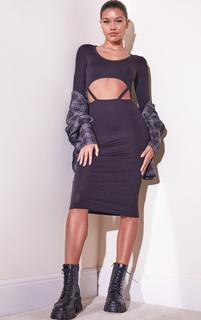 PrettyLittleThing - Black Jersey Long Sleeve Cut Out Strap Detail Midi Dress, Black