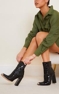 PrettyLittleThing - Black Metal Toe Highlight Block Heel Ankle Boots, Black