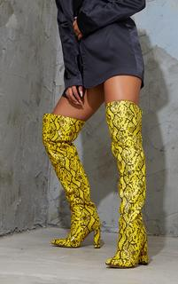 PrettyLittleThing - Yellow PU Snake Pointed Flat Block Heel Over The Knee Boots, Yellow