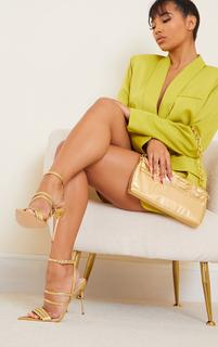 PrettyLittleThing - Gold Point Toe Pin Heels Double Strap Heels Sandals, Yellow