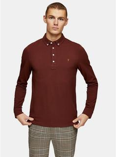 Farah - Mens Red Farah Burgundy Ricky Long Sleeve Polo*, Red