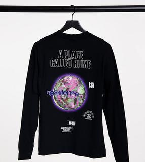 Collusion - Unisex – Langärmliges, schwarzes Oversize-T-Shirt mit Print