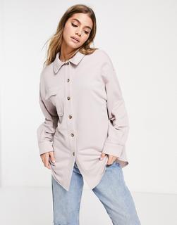 ASOS DESIGN - WFH – Shirtjacke aus Jersey in Lila-Grau-Violett