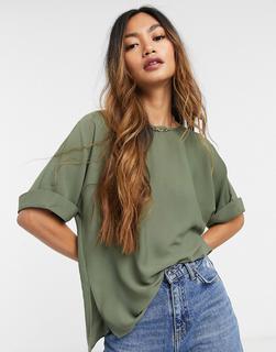 ASOS DESIGN - Oversize-Web-T-Shirt mit Krempelärmeln in Khaki-Grün