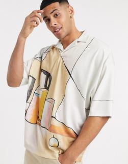 ASOS DESIGN - Oversize-Poloshirt mit Reverskragen und großem Kunst-Print-Mehrfarbig