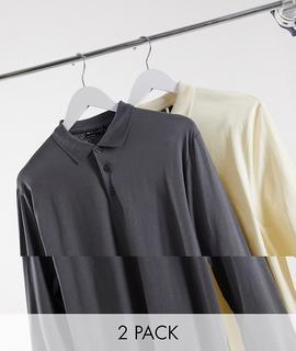 ASOS DESIGN - Langärmliges Poloshirt aus Bio-Gewebe im 2er-Pack-Mehrfarbig