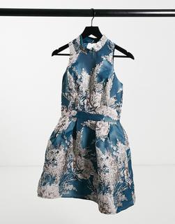 Chi Chi London - Hochgeschlossenes Mini-Ballkleid aus Jacquard mit blaugrünem Blumenmuster-Mehrfarbig
