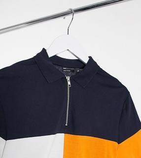 ASOS DESIGN - Tall – Marineblaues Polohemd aus Bio-Material mit marineblauem Farbblockdesign