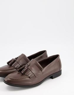 New Look - Dunkelbraune Loafer mit Bommel