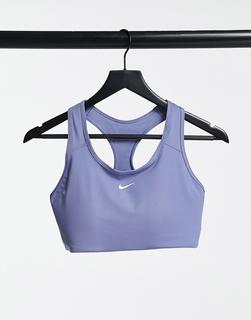 Nike Training - Gepolsterter BH mit Swoosh-Logo in Blau