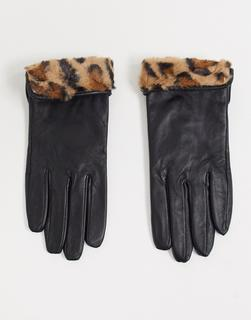 Accessorize - Schwarze Lederhandschuhe mit Kunstpelzbündchen in Leopardenmuster