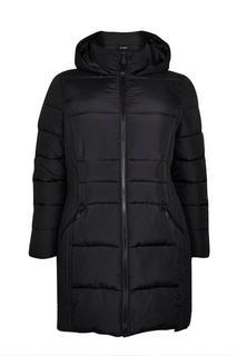 Evans - Black Contrast Trim Padded Coat, Black